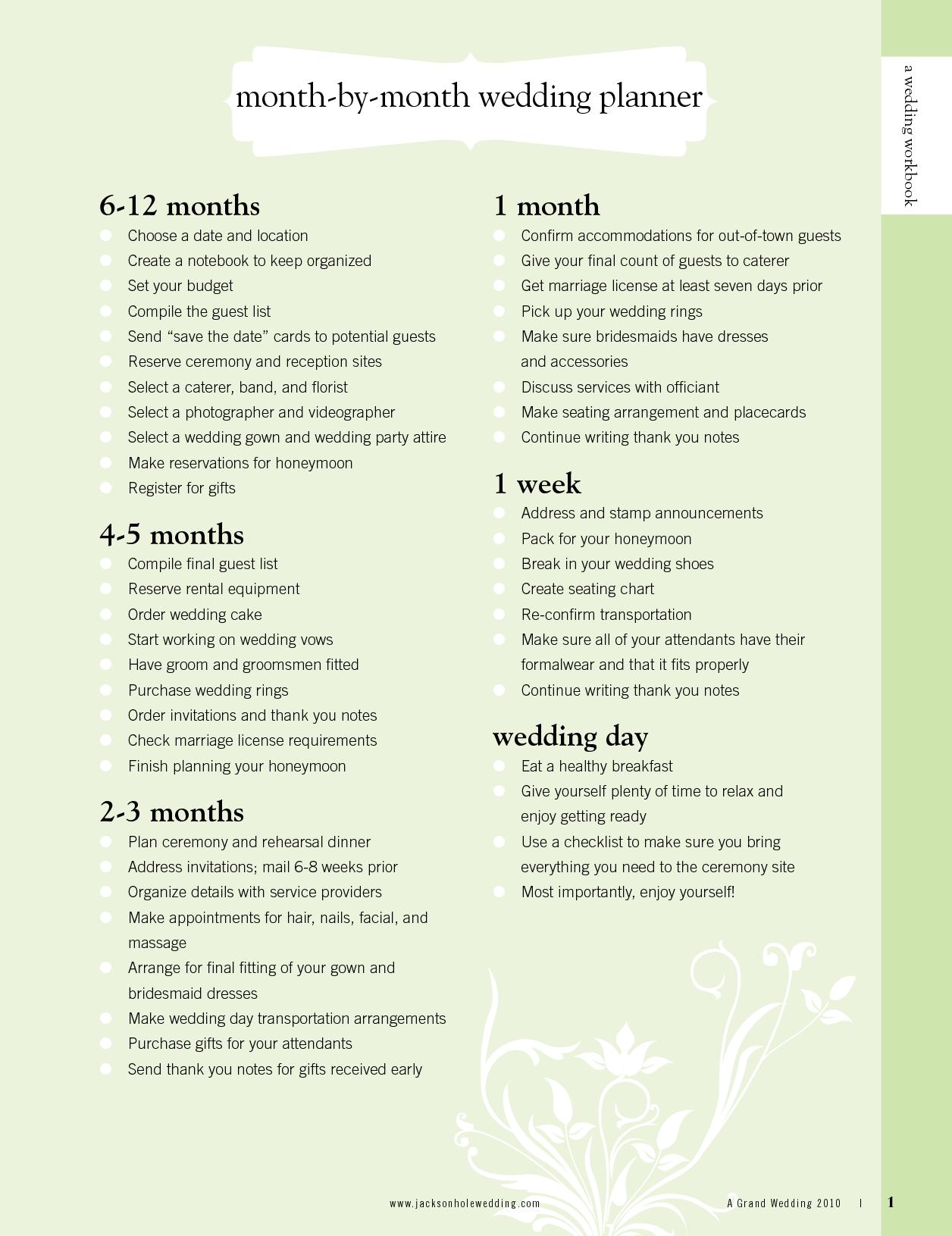 6 month wedding timeline