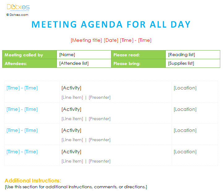 4 Images of Printable Agenda Template
