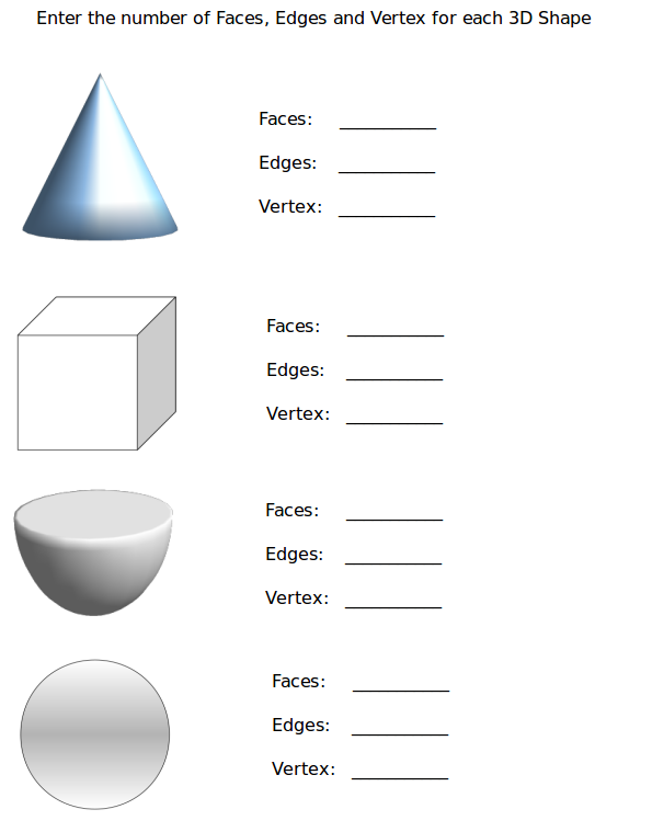 Free 3d shapes worksheets first grade