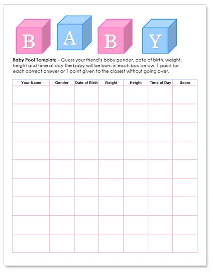 5 Images of Printable Baby Pool Betting