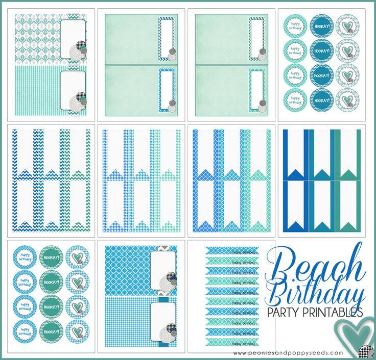 Beach Birthday Party Free Printables