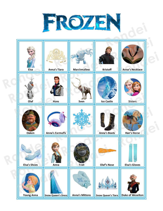 7 Images of Disney Frozen Printable Bingo Game