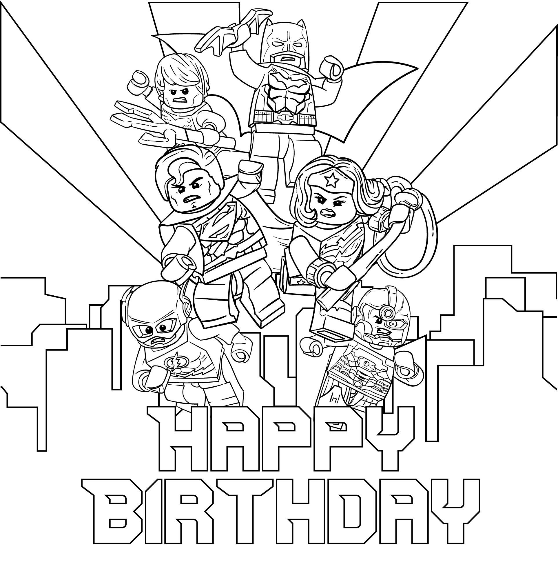 Birthday LEGO Printable Coloring Page