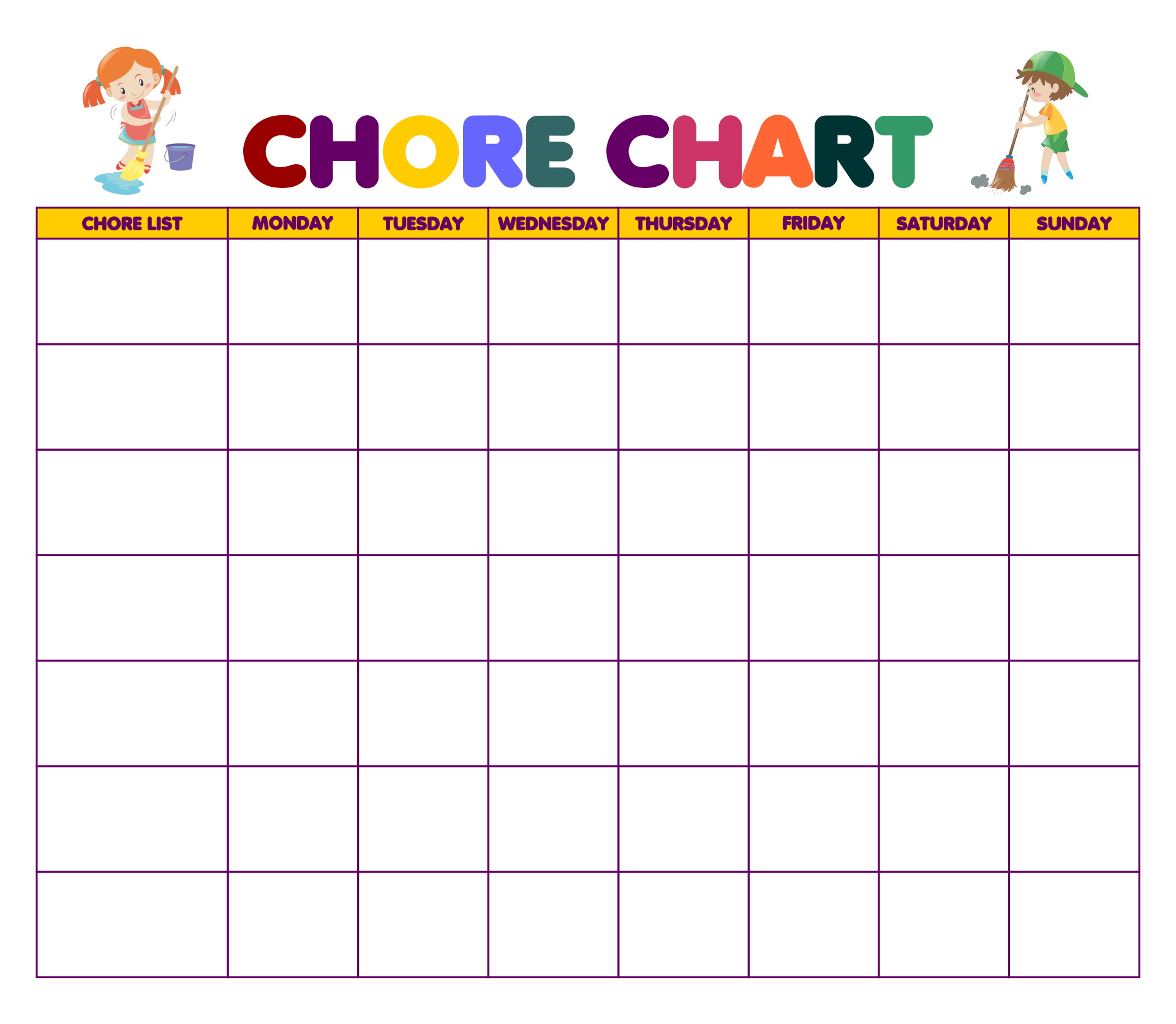 Daily Chores Charts Kids Printables