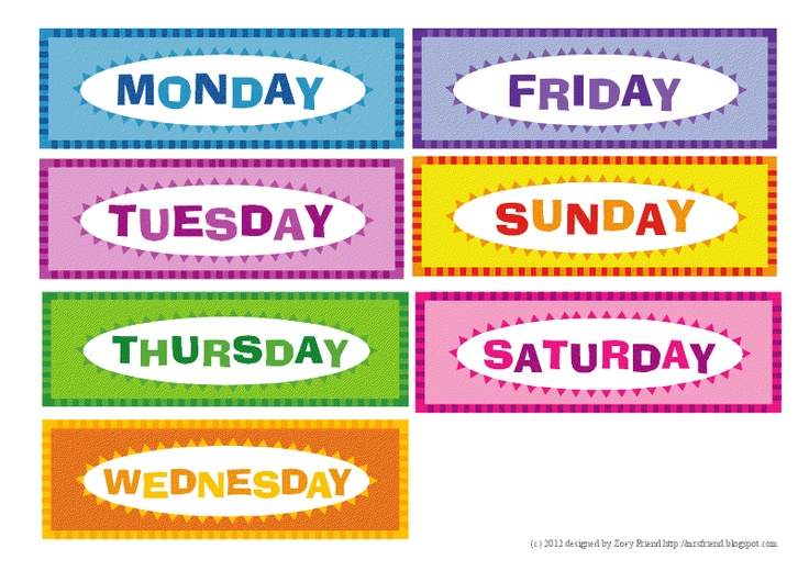 Blank Calendar With Days Of The Week : Best images of printable flashcards days the week