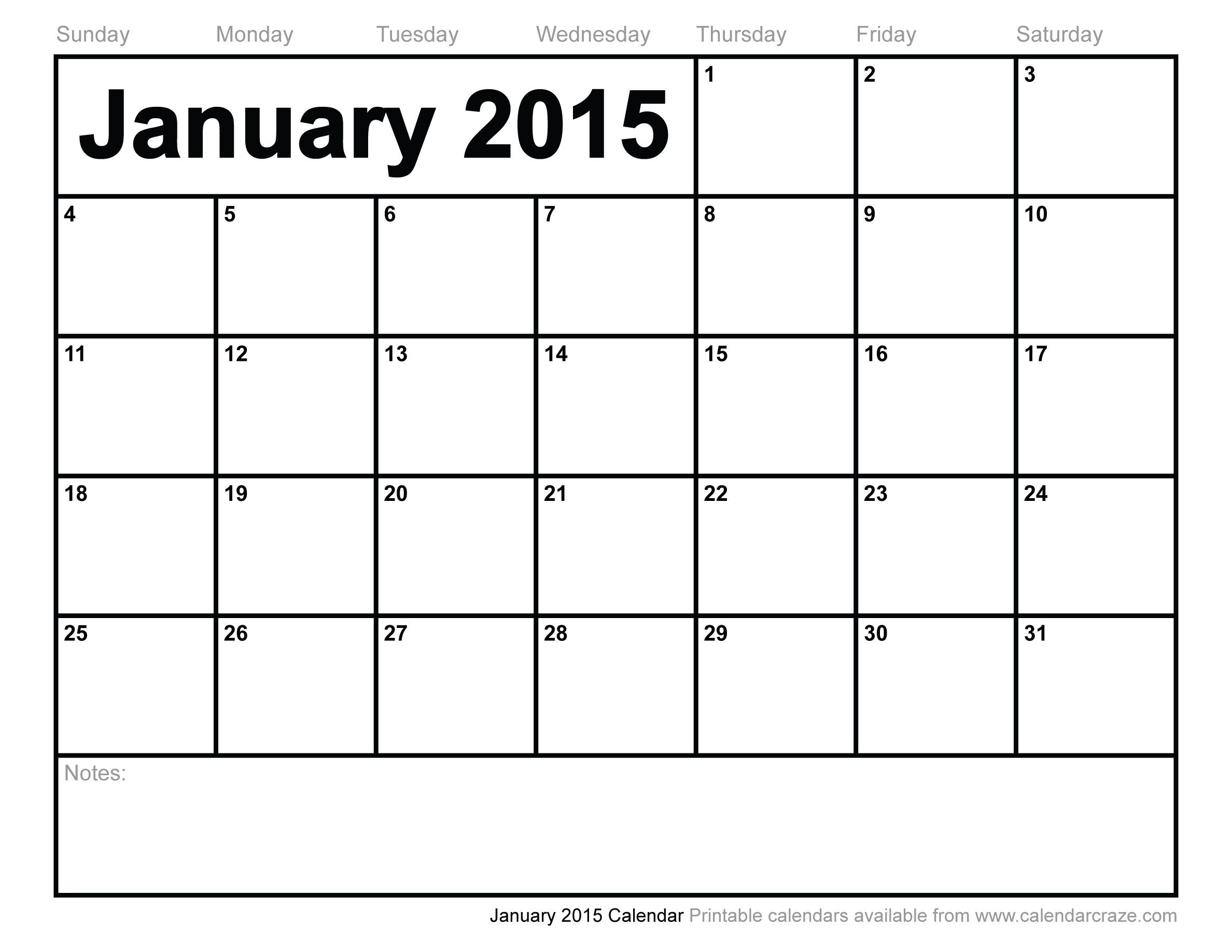 5 Images of January 2015 Calendar Printable