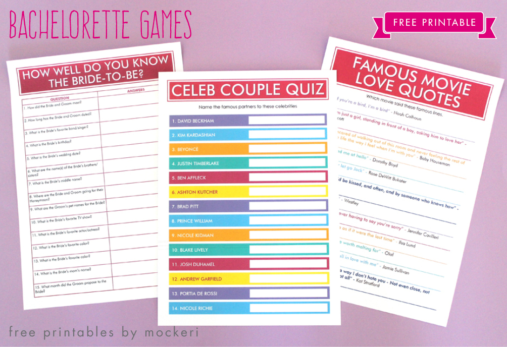 6 Images of Printable Bachelorette Games