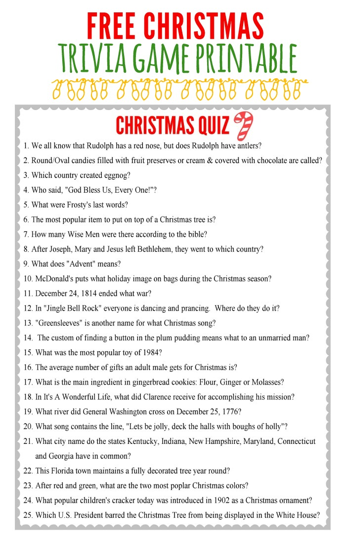 Printable Christmas Games Trivia and Answers