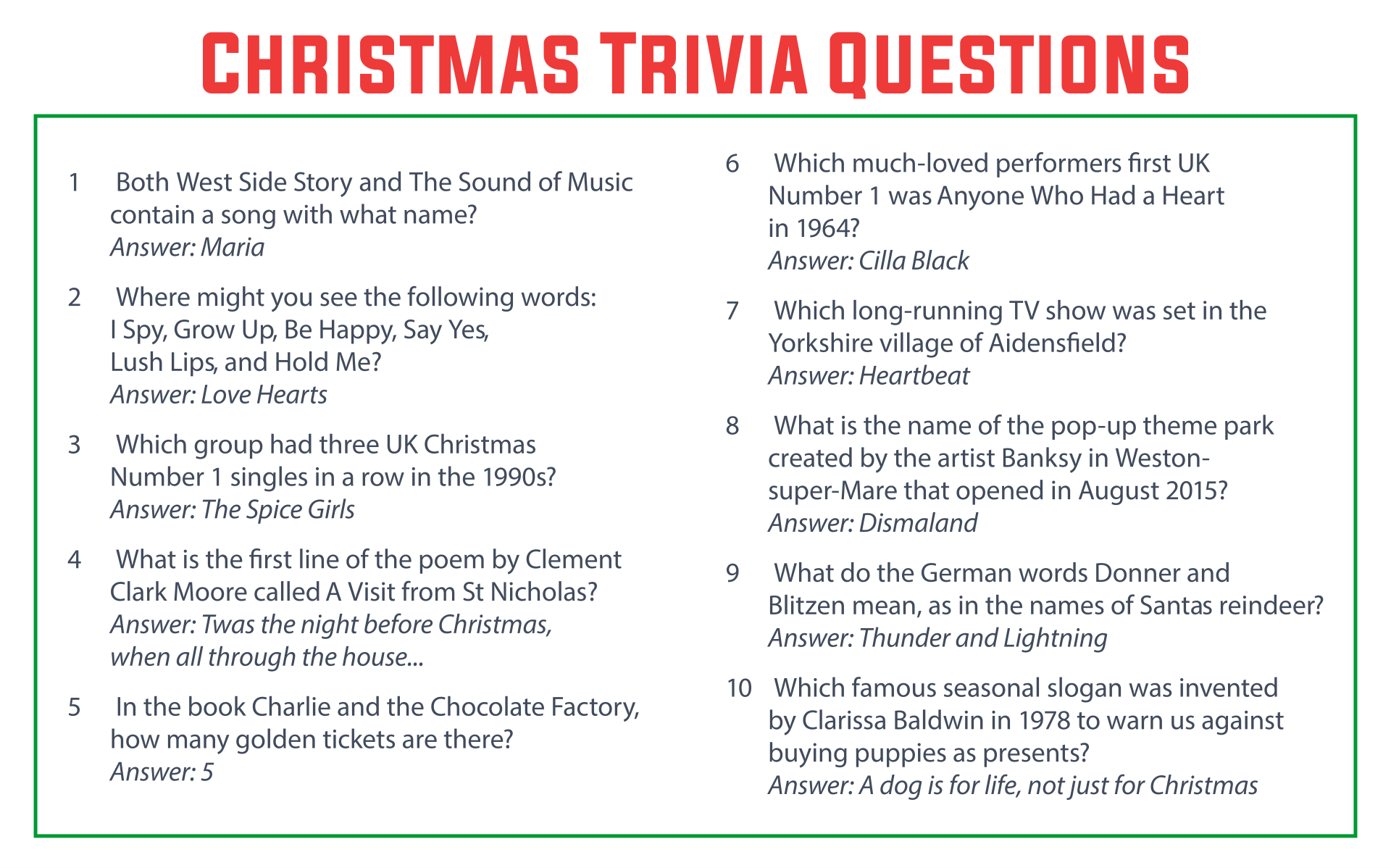 Printable Christmas Trivia Questions and Answers