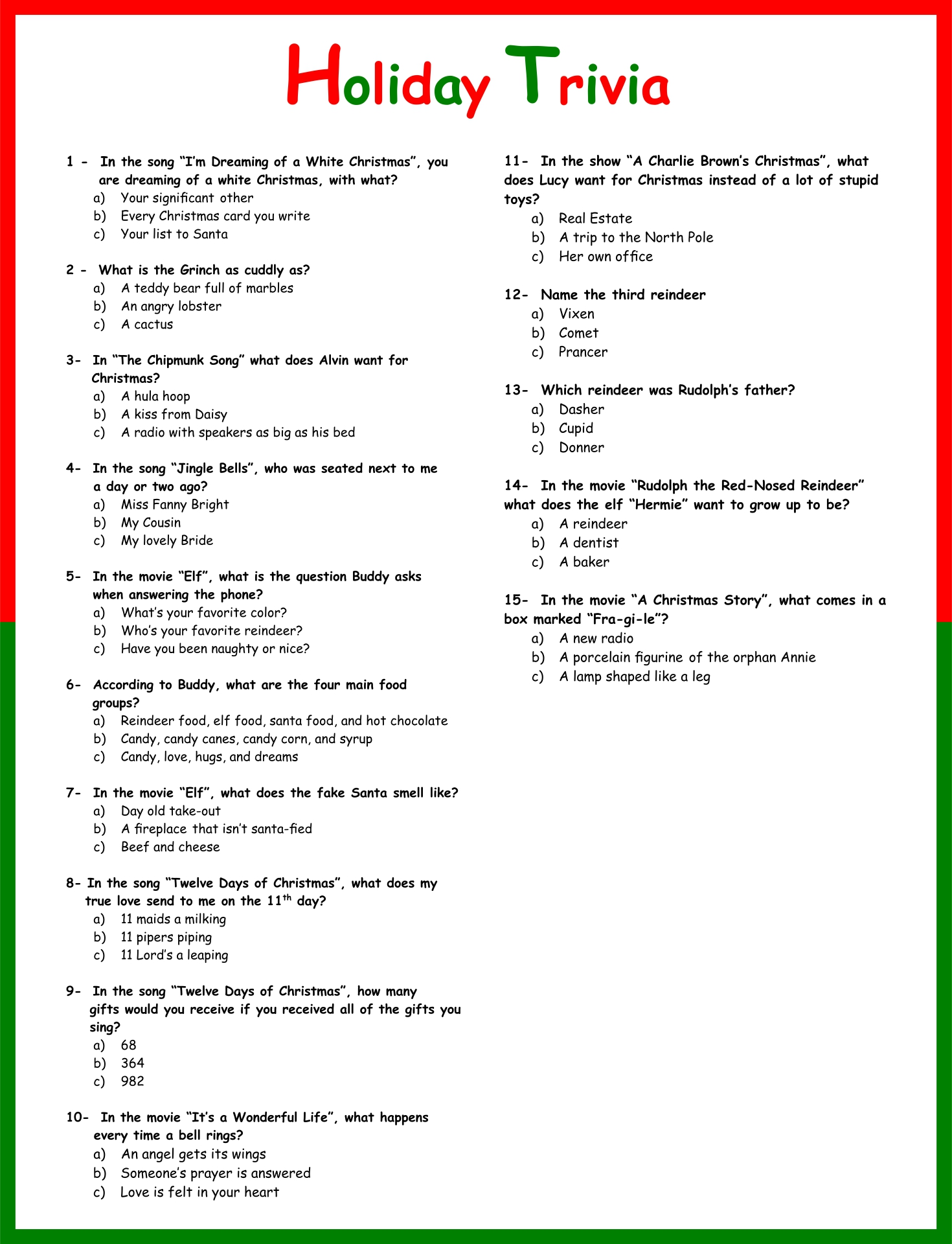 Printable Christmas Trivia Quiz