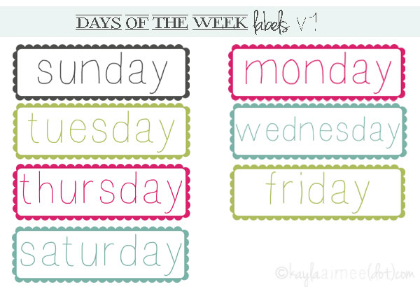 Free worksheets days of the week