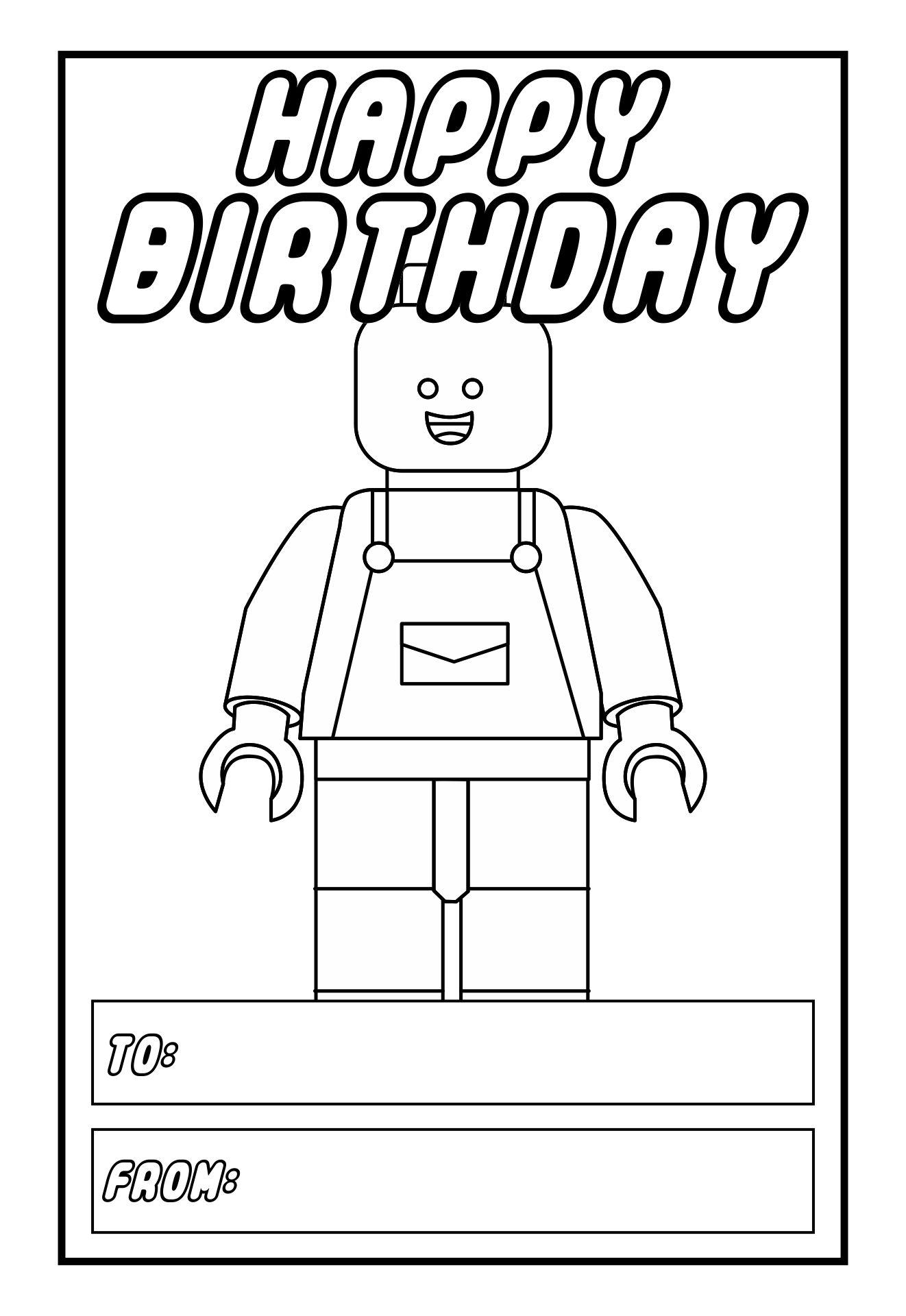 Printable Happy Birthday LEGO Card