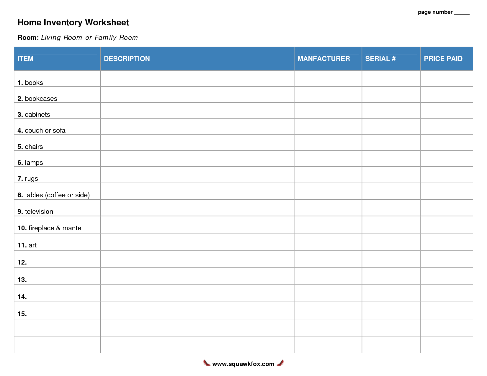 6 Images of Free Printable Home Inventory Worksheets