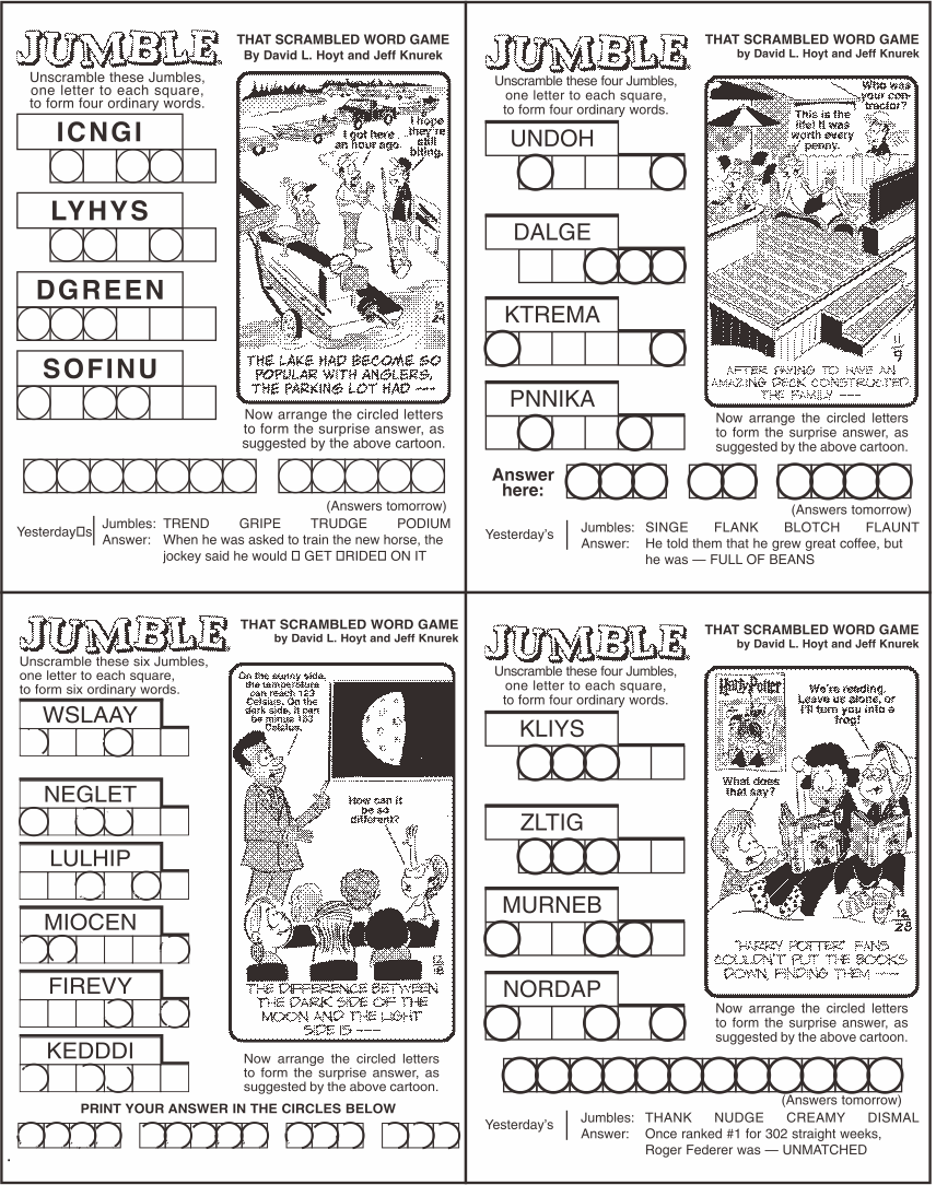 Free Printable Jumble Puzzles