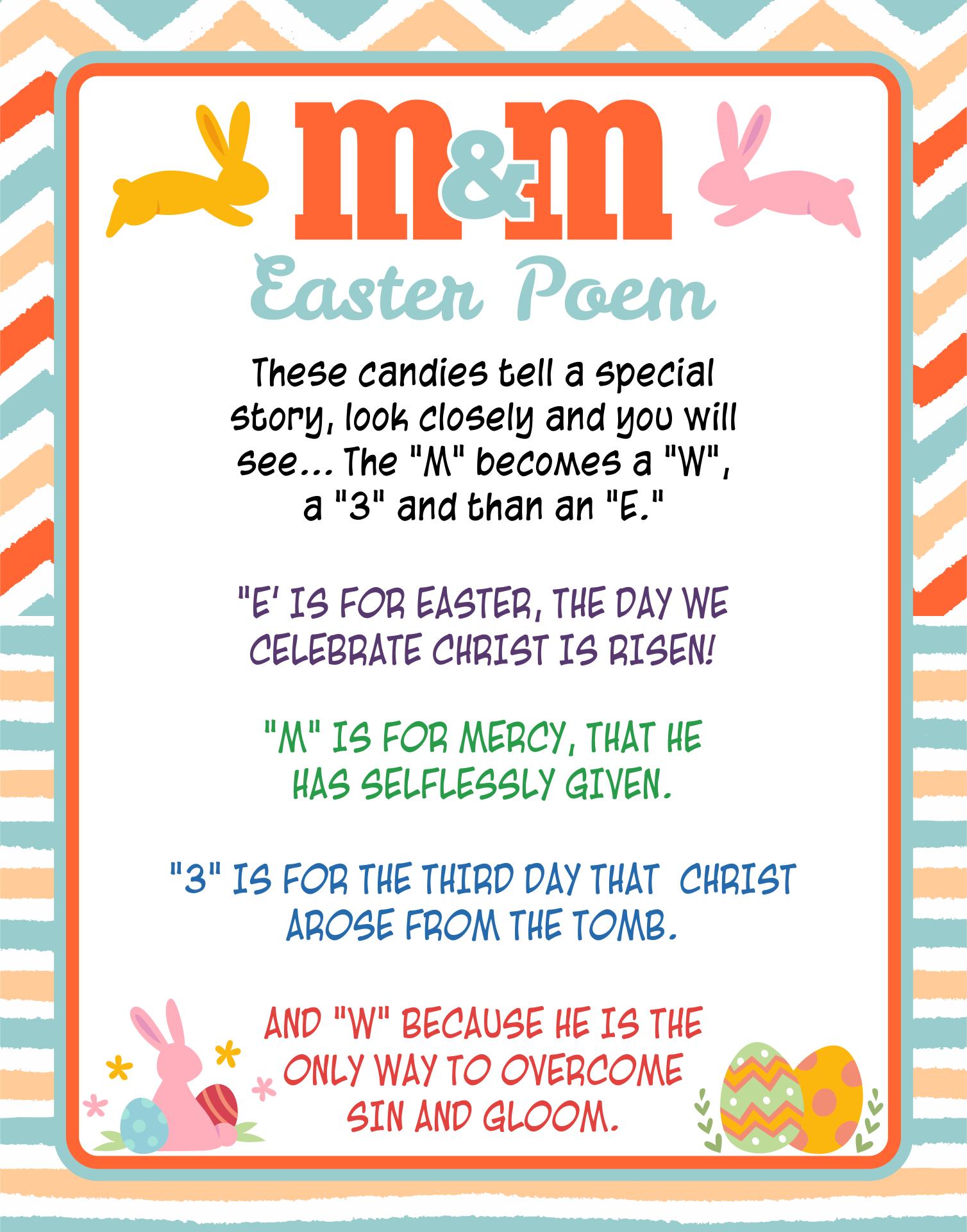 Free Printable M M Easter Poem