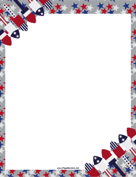Free Printable Patriotic Fireworks Border