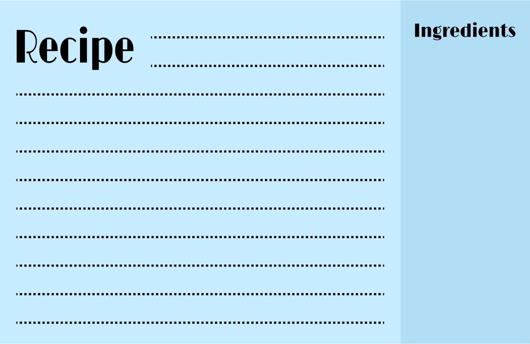 Printable Recipe Card Template 4 X 6