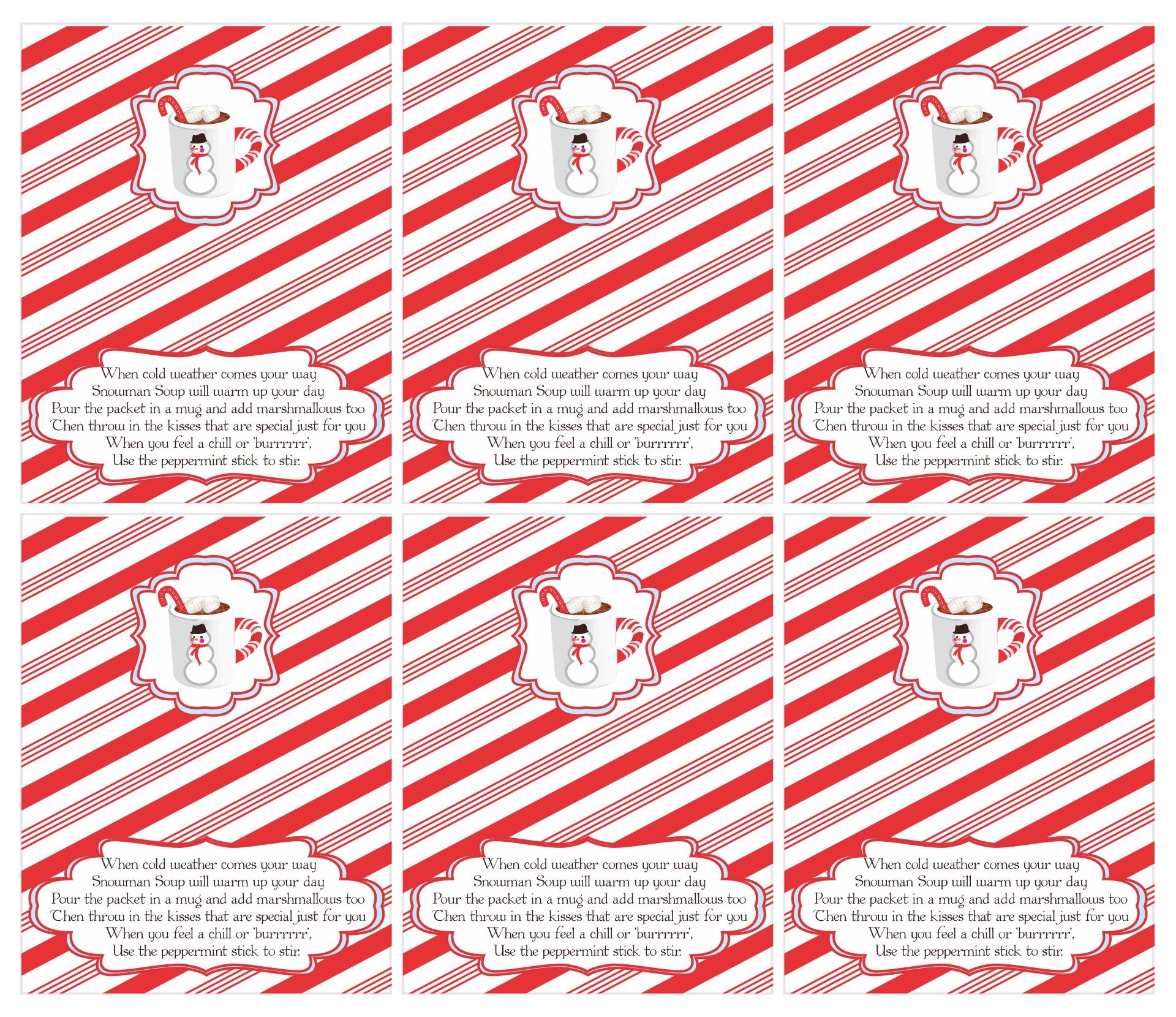 Printable Snowman Soup Labels