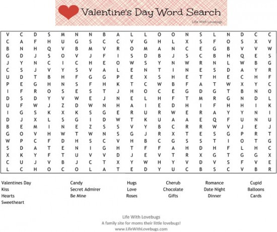Free Printable Valentine Word Search