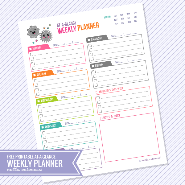 7 Images of At A Glance Weekly Monthly Planner Free Printables