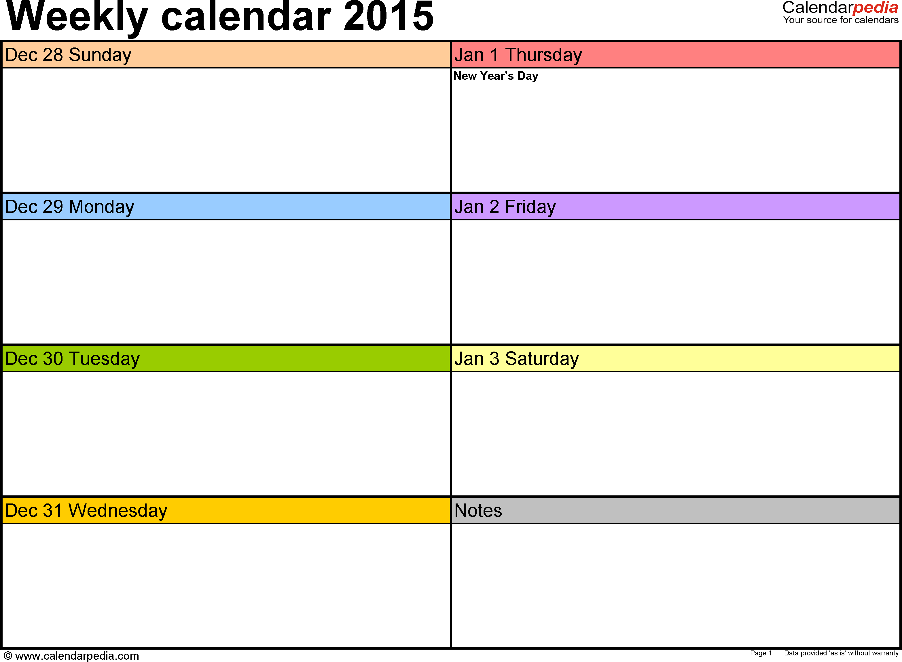 7 Images of Printable 2015 Weekly Planner Template Excel