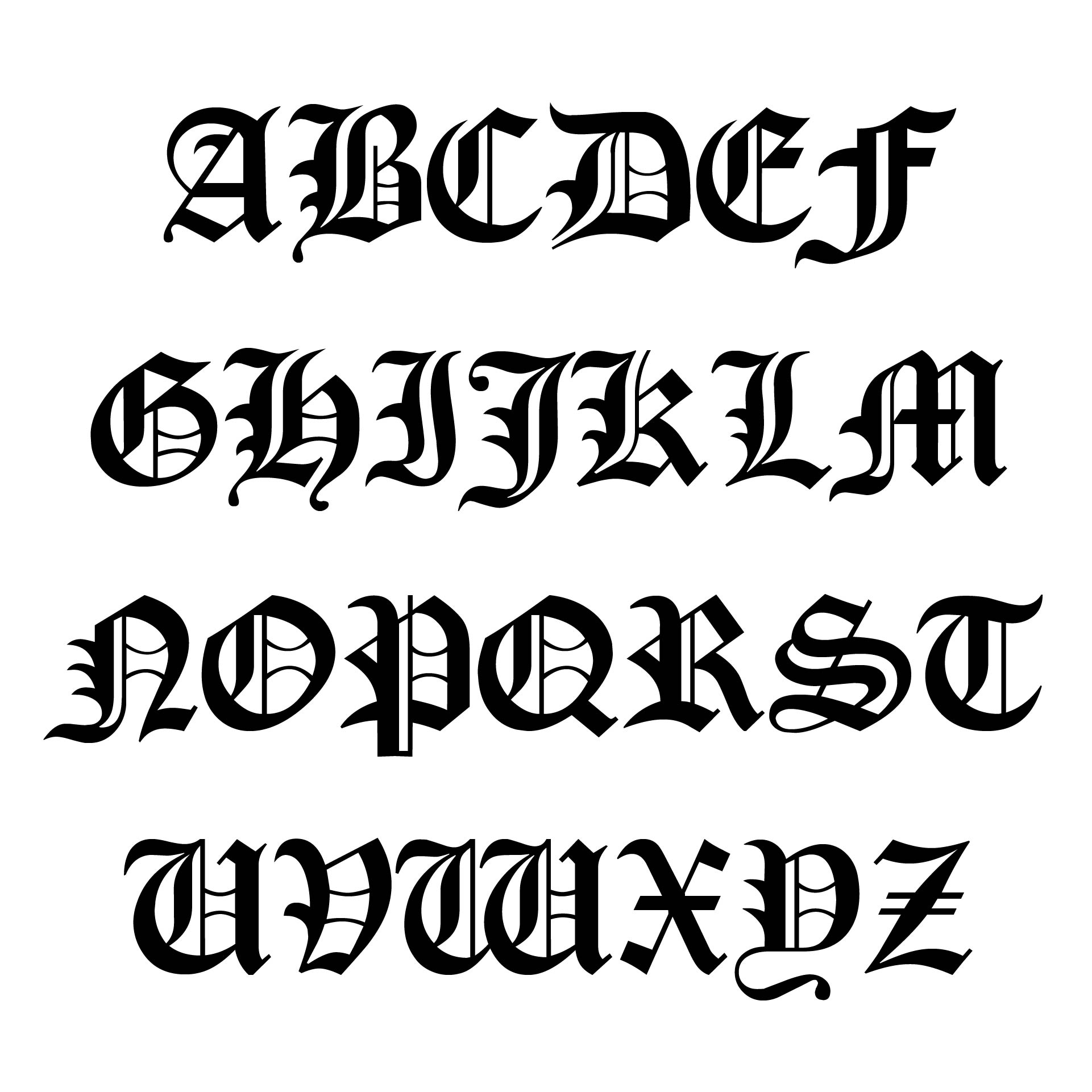 Gothic Old English Letter Stencils