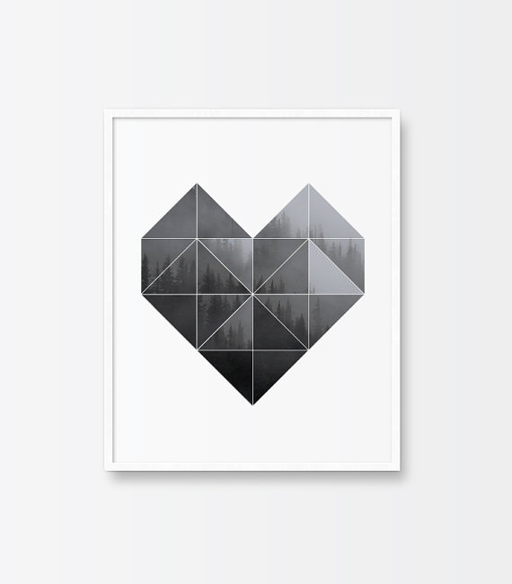 Heart Black and White Geometric Print