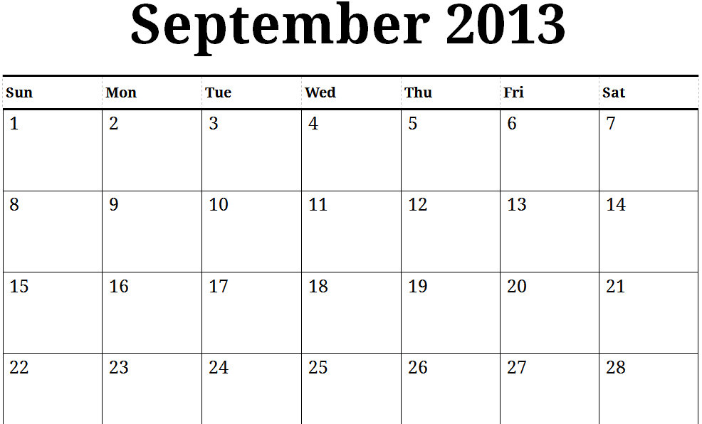 6 Images of Printable Calendar September 2013