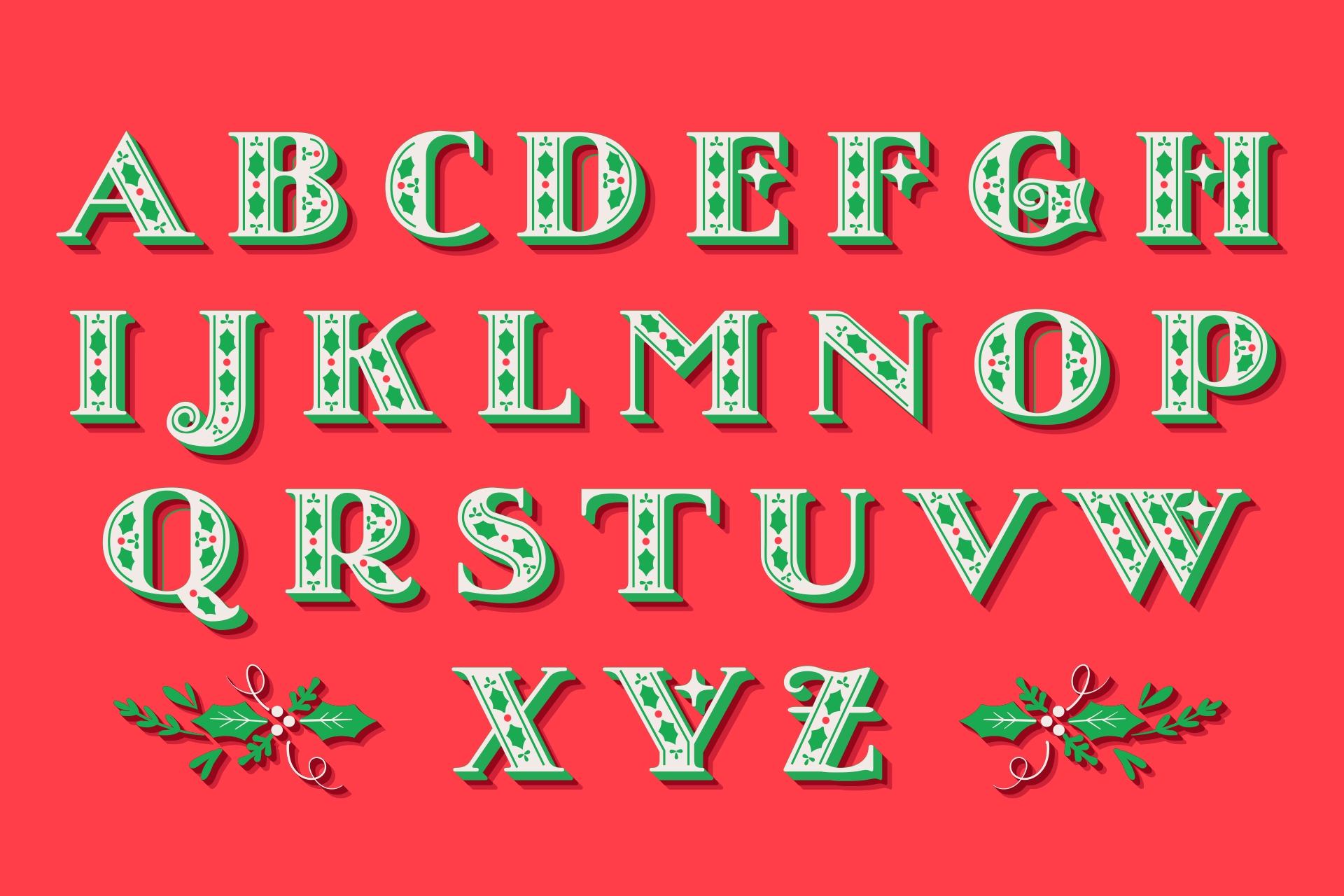 Large Printable Christmas Alphabet Letters