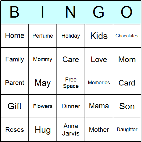7 Images of Mother's Day Printable Bingo In Spanish