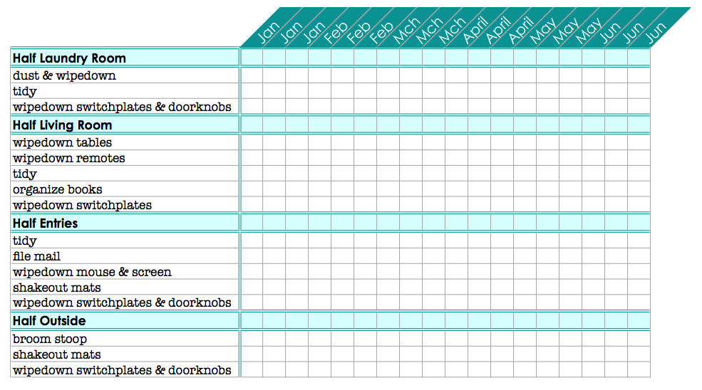 Printable Blank Monthly Chore Charts