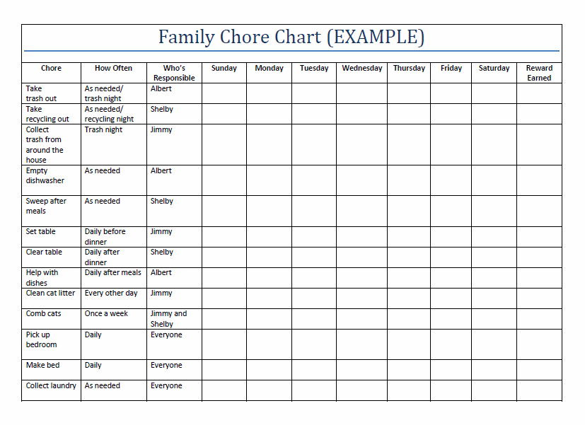 5 best images of large family chore chart printable for Chore chart for adults templates