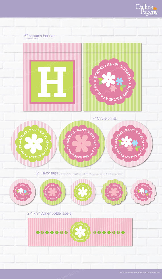 Printable Flower Birthday Party