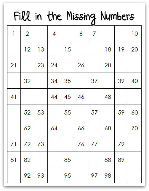 7 Best Images of Printable Number Chart 1 31 - Hundred ...
