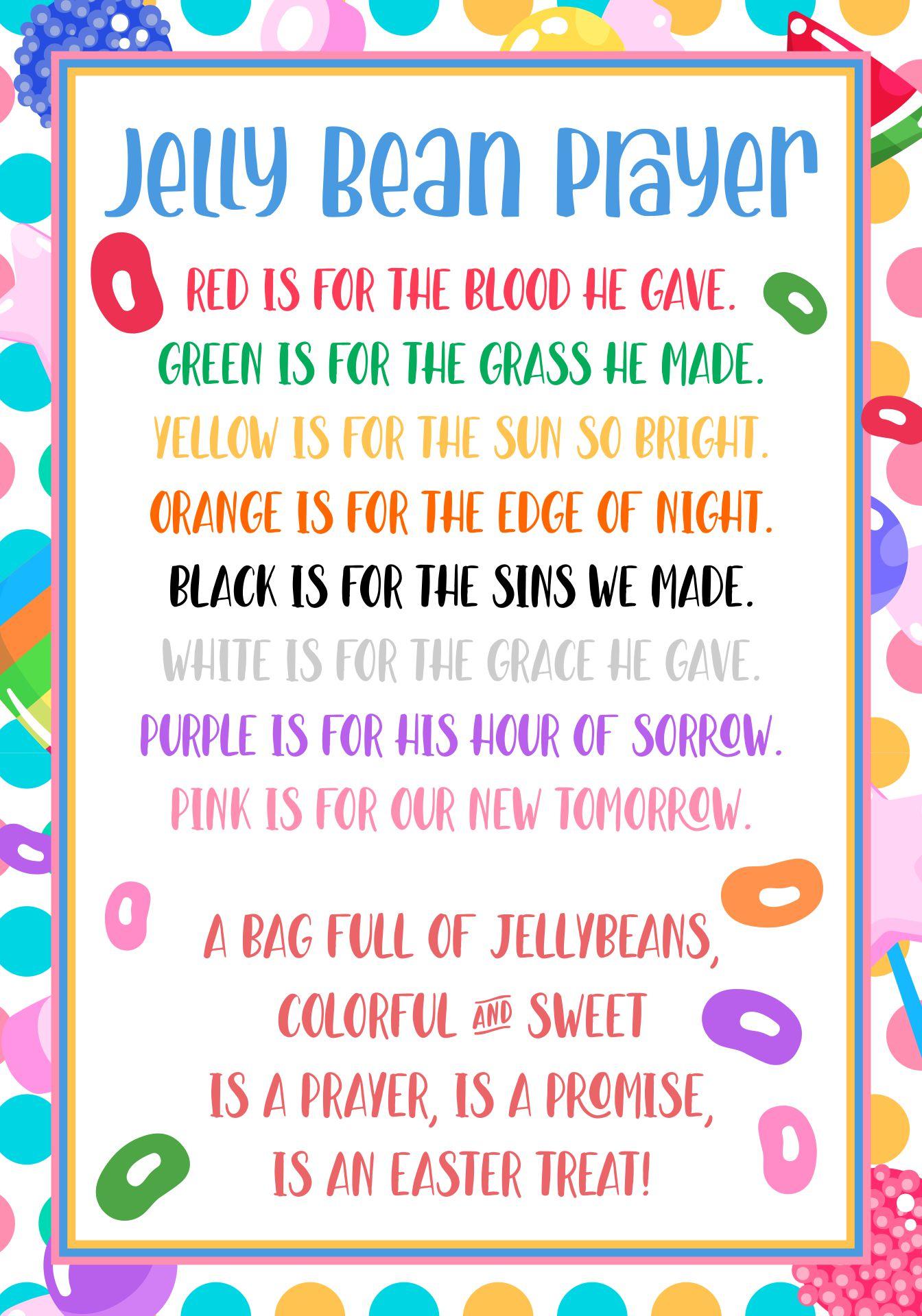 Printable Jelly Bean Easter Poem