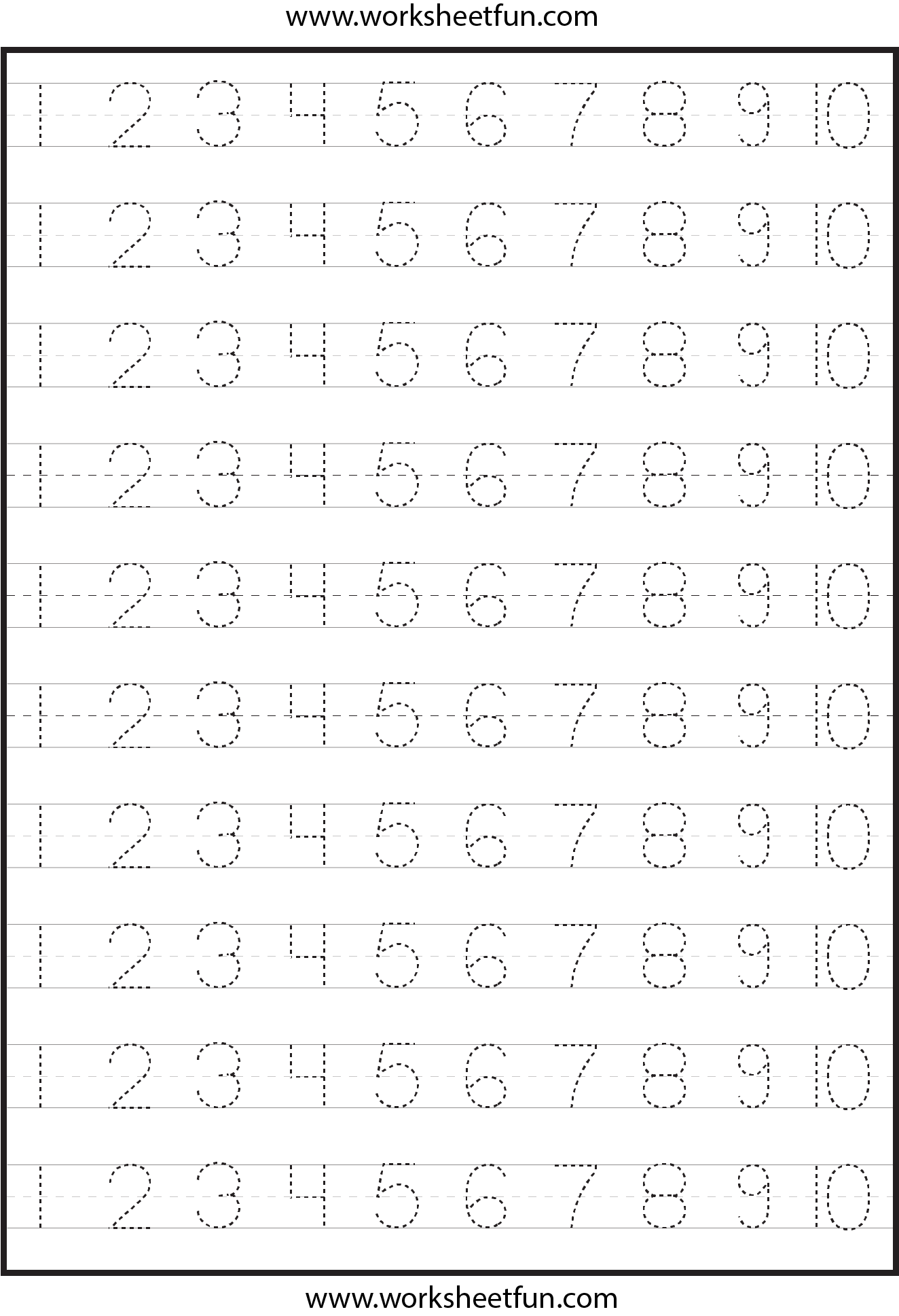 Free Number Tracing Worksheets 1 10 - humorholics