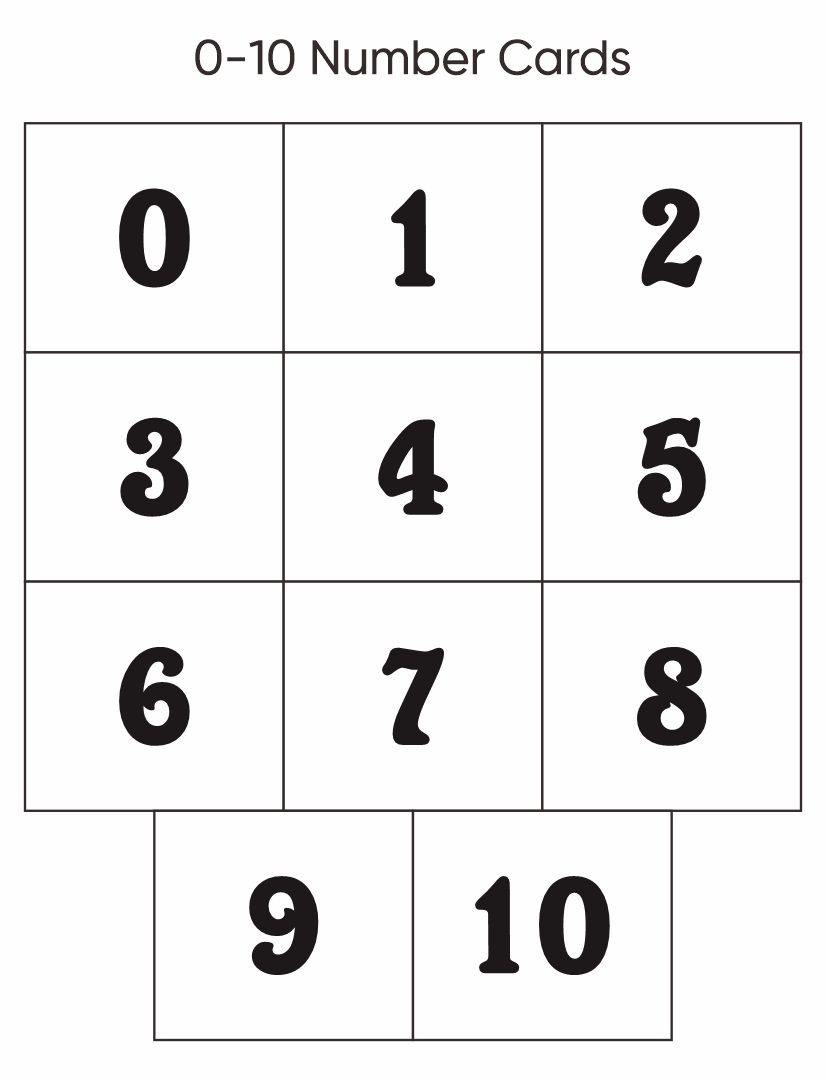 Printable Number Cards 0 10