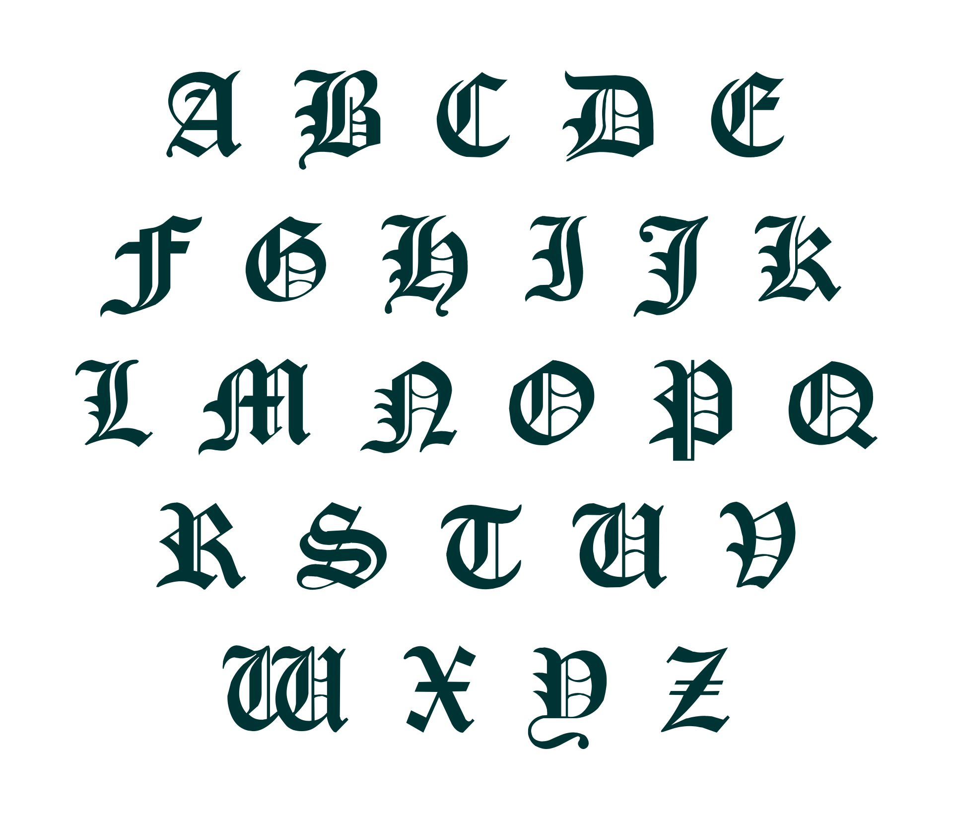 Printable Old English Letters Alphabet