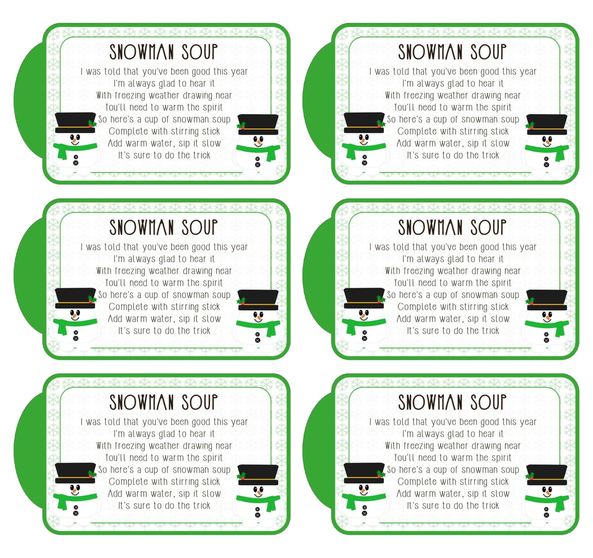 Printable Snowman Soup Gift Tags