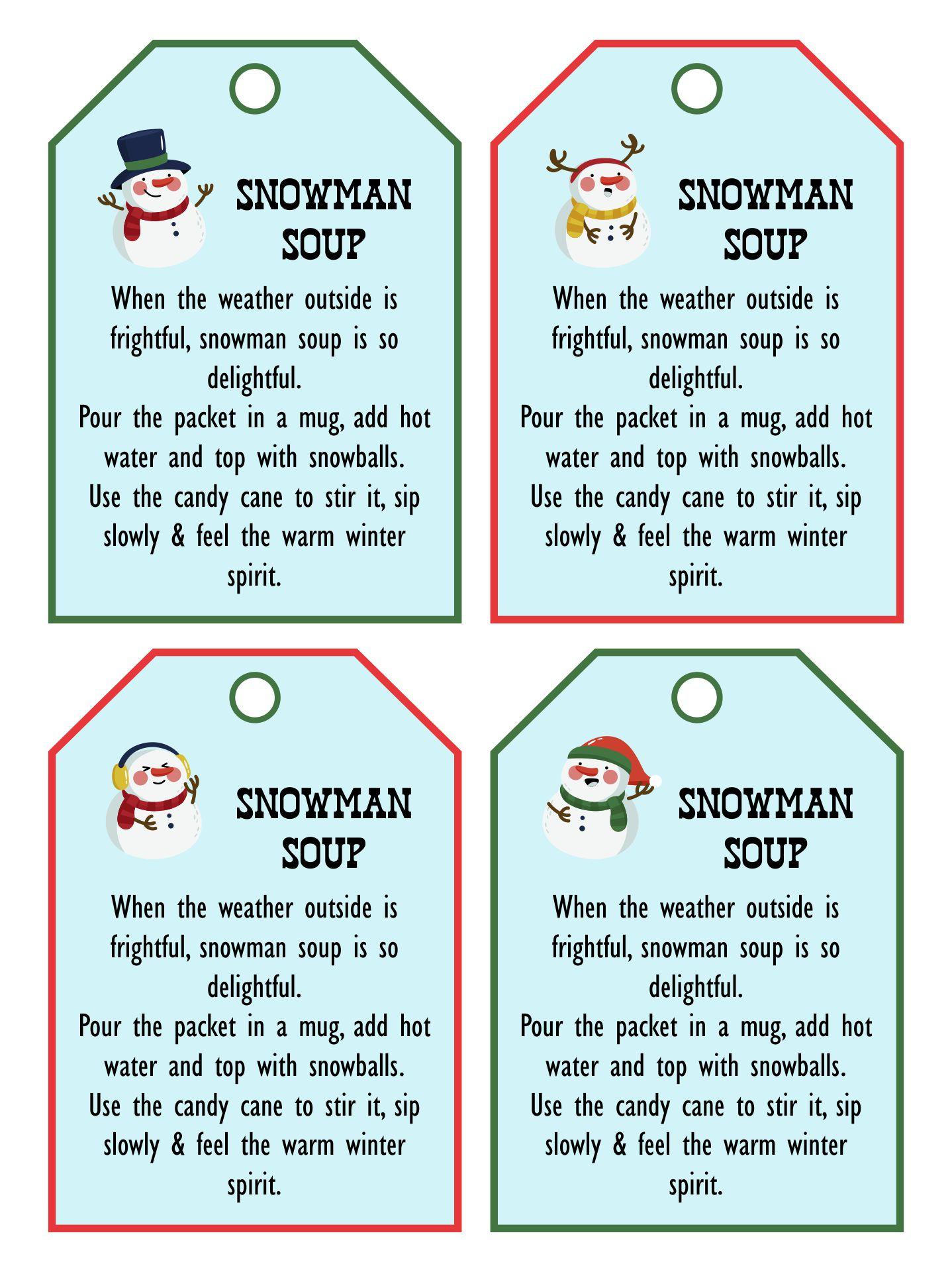 Printable Snowman Soup Poem Tags