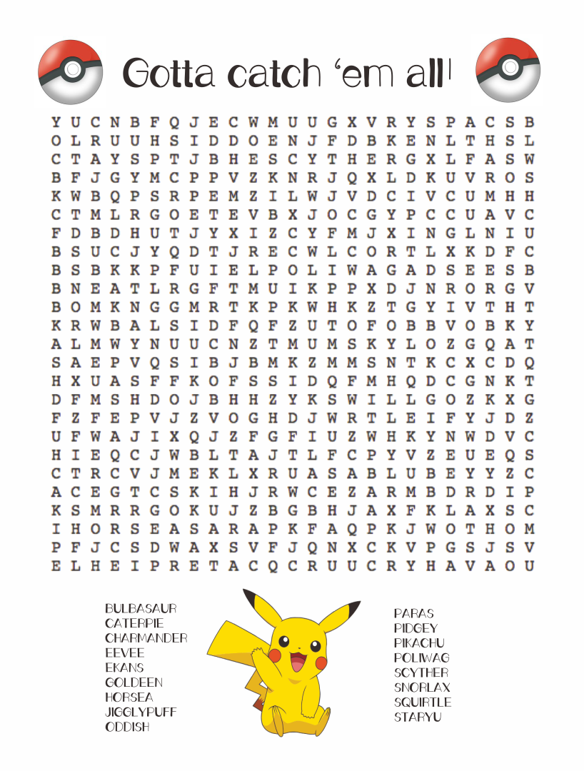 5 Images of Pokemon Word Search Puzzles Printable