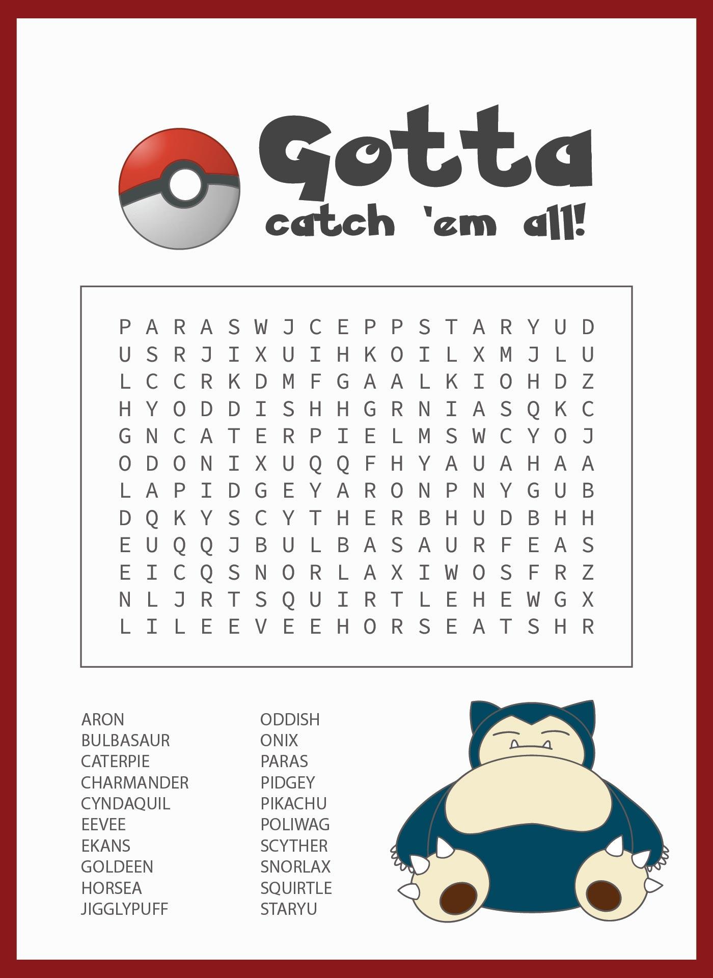 Pokemon Word Search Puzzles Printable