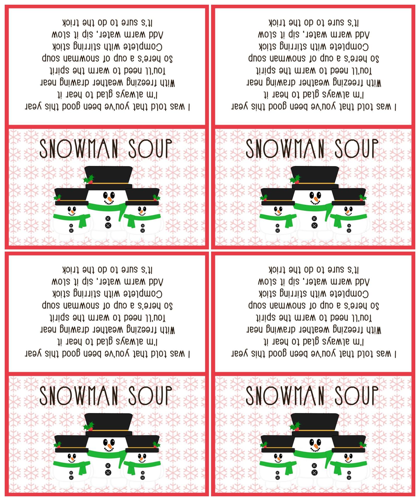 Snowman Soup Printable Tags