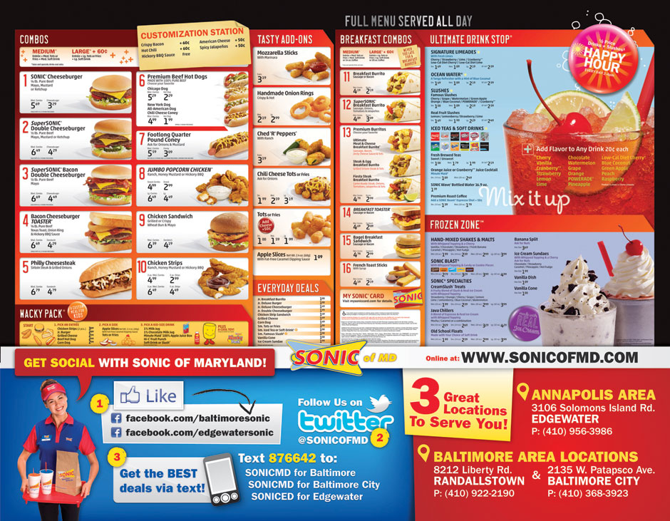 5 Images of Printable Sonic Menu With Prices