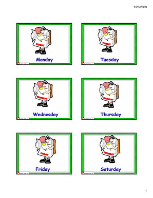 8 Images of Printable Flashcards Days Of The Week