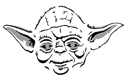 Line Art Yoda : Best images of yoda black and white printable star