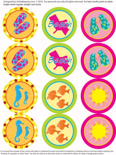 6 Images of Beach Party Free Printables