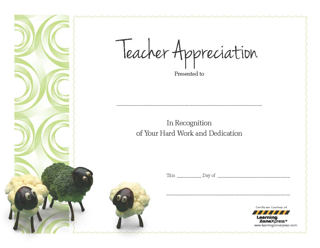 5 best images of teacher appreciation free printable for Teacher appreciation certificate template
