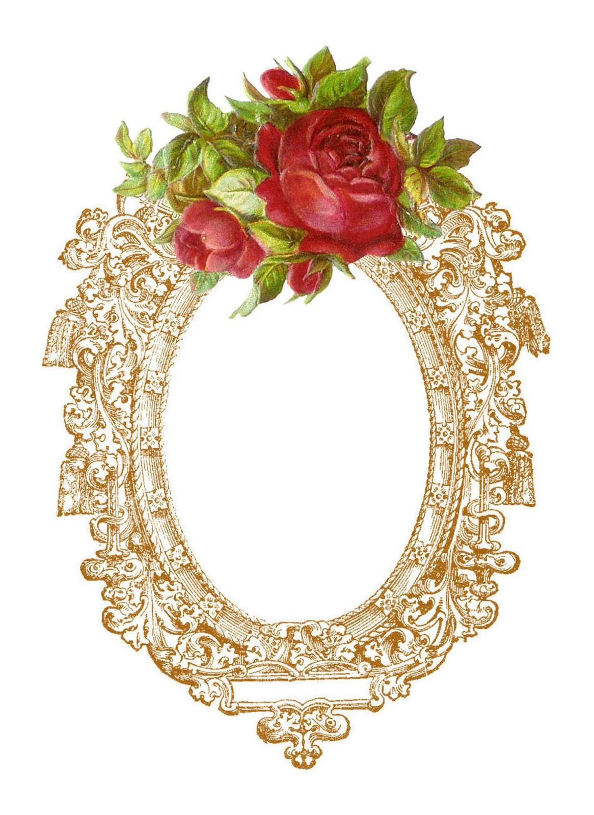 Vintage Rose Frame Clip Art Free