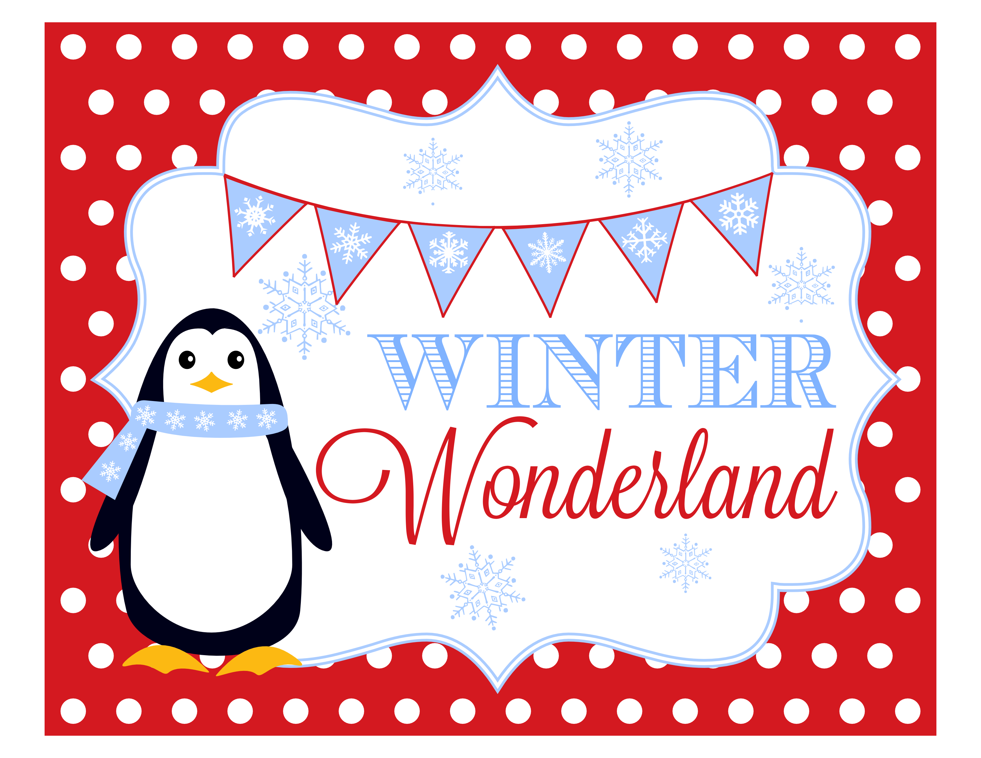 6 Images of Winter Wonderland Free Printable Banners